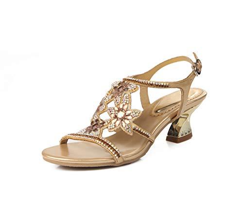 Soulength Glitzersteine Louis Heel Damen Sandalen Schöne Blume Dekorative Knöchelriemen Slingback Sandalen Für Frauen