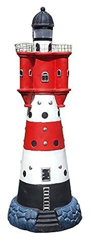 Leuchtturm Roter Sand mit Solar Beleuchtung 90 cm Gartendeko Teichdeko