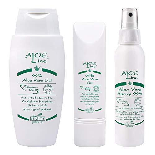 ALOE Line | Aloe Vera Set | Aloe Vera Gel 99% (50ml) + Aloe Vera Gel 99% (150ml) + Aloe Vera Spray 99% (100ml) | Pflege für Haut- & Haar | ohne Duft- & Farbstoffe - ohne Parabene - ohne Mineralöle |