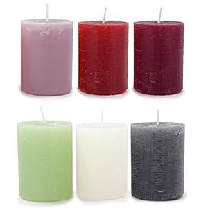 4 Stück Kerzen Rustic 8x6cm Stumpenkerzen durchgefärbt Dekokerzen