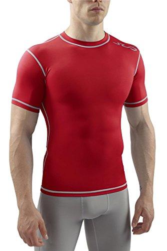 Sub Sports Herren Dual Kompressionsshirt Funktionswäsche Base Layer Kurzarm, Rot, L