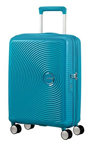 AMERICAN TOURISTER Soundbox – Spinner 55/20 Expandable Equipaje de mano, 55 cm, 35.5 liters, Turquesa (Summer Blue)