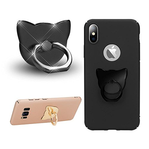 NALIA Fingerhalterung Ring-Halter Katze, Verstellbarer Fingergriff für Einhandbedienung Smartphone Universal-Ständer Multi-Winkel, kompatibel mit iPhone, kompatibel mit Samsung, etc, Farbe:Schwarz (Ring-halter Katze)
