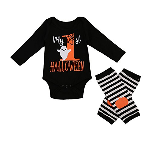 Baby Jungen Mädchen Kürbis Strampler Neugeborenen Bodysuit Halloween kostüm Outfits 2Pcs Set (3-6 Monate, (6 Baby 3 Monate Junge Kostüme Halloween)