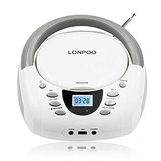 LONPOO Tragbare CD-Player für Kinder Stereo Boombox Bluetooth mit CD-Radio FM, Port für USB/Aux-in/Kopfhörer, Batterie/Netzbetrieb (Weiß D01)