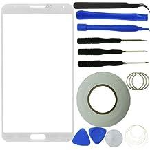 Kit de reemplazo de pantalla para Samsung Galaxy Note 3, incluye 1protector de cristal de repuesto para Samsung Galaxy Note III/1par de pinzas/3 pegatinas adhesivas pre cortadas / 1Kit de herramientas/1paño de microfibra ECO-FUSED.