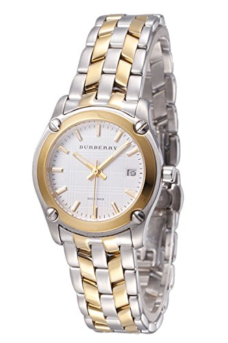 Burberry Heritage LUXURY Womens Unisex Mens Dual Tone Gold Watch Check Stamped Date Dial BU1857
