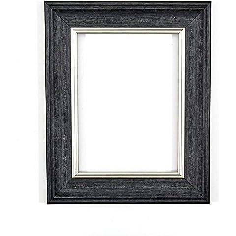 PRONTA da appendere o stand/Foto/Poster con cornice Shabby Chic alta trasparenza stirene infrangibili in Perspex Sheet e retro in MDF, Polcore, Grey brushed silver edge, 15,2 x 10,1 cm