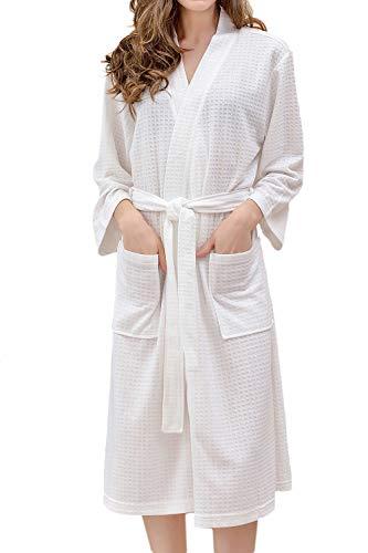 Besweeton Waffle Bathrobes Robe Frauen Mens Kimono Sleepwear Nightgown Lightgown Lace-Spa weiß M