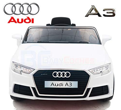 BC Babycoches - Audi A3 - Coche elétrico niños - Coches con Mando 2.4Ghz- Coches de batería 12v - Coche con Equipo de Audio, USB, SD, MP3 (Blanco)