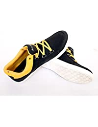 ROCKWELL Men's BLACK AND YELLOW Canvas Shoes (10)