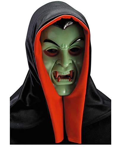 Horror-Shop Dracula Maske mit Kapuze für - Nosferatu Kostüm Zähne