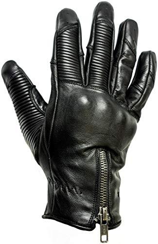 HELSTONS - Guanti da moto da uomo, in pelle, taglia 8, colore: Nero