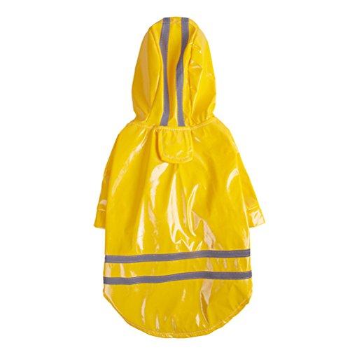 Ueetek impermeabile cane giubbotto gilet catarifrangente cane abbigliamento cappottino cane giallo taglia s