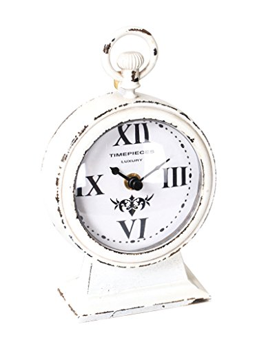 Nikky Home Table Clock With Handle On Paw Feet Quartz Analogue Vintage...