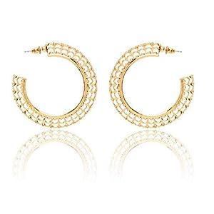 1 Paar Mode Frauen Gold Aushöhlen Ohrringe Legierung Kreis Ohrringe Übertriebener Stil Schick Charm Ohrringe Schmuck Geschenk von SamGreatWorld