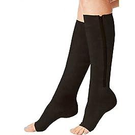 Acelec – Calze elastiche a compressione, con cerniera, unisex, calze senza punta, altezza al ginocchio