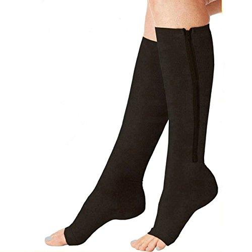 acelec New Kompression Reißverschluss SOX Socken dehnbar Reißverschluss Bein Unterstützung Unisex Zehenöffnung Knie Strümpfe