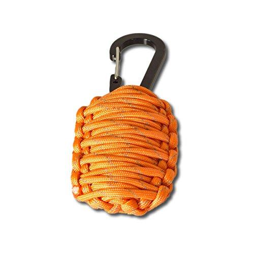 Paracord Survival Kit orange inkl. Messerklinge, Feuerstein, Zunder, Angelschnur Überlebens-Kit für Outdoor, Campen, Wandern