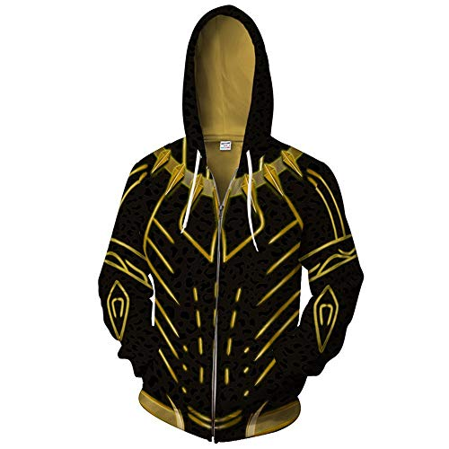 BchYu Unisex Anime Cosplay Männer Hoodie 3D Druck Long Sleeve Sweatshirt Kapuzenpullover Langarm Kapuzenjacke Black Panther Zipper ()