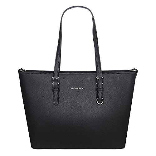 Paris Fashion Flora & Co Damen Shopper Jet Set Tasche Travel Saffiano, Farbe:Schwarz (Damen Flora Handtasche)