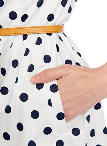 oodji Ultra Femme Robe Ajustée avec Ceinture Blanc (1279D)