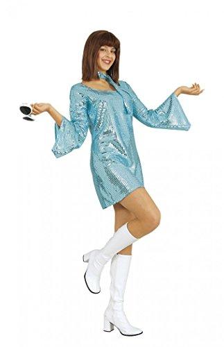Kostüm Womens Disco - Mortino Kleid Disco Lady Gr. S hellblau Partykleid Fasching Karneval 70er Jahre