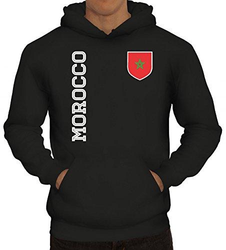 Marokko Fußball WM Fanshirt Gruppen Herren Hoodie Männer Kapuzenpullover Fan Trikot Morocco, Größe: L,Schwarz