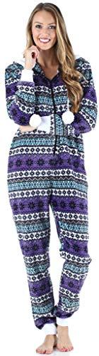 Frankie & Johnny Damen Super-Soft vlies Overall mit Fell, aus Einem Stück Homewear, Lila Fairisle (FJ1171-1085-EU-XS) - 5