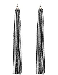 Front Row Black Tassel Chain Drop Earrings