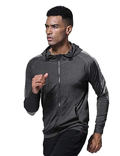 Coofandy Herren Jacke Kapuzenpullover Sweatshirt Sweatjacke Langarm mit Reißverschluss Sport Freizeit Basic Kappuzenjacke aus Polyesterfaser für Männer