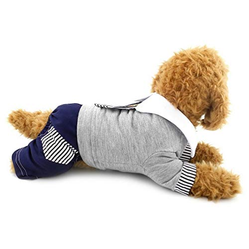 Kleine Hunde Overall Baumwolle Denim Stripe Tie Student Schule Uniform British Pet Dog Schlafanzüge Pullover Schneeanzug Jeans Puppy Cat Teetasse Shih Tzu Chihuahua Kleidung Outfits Apparel YAWJ
