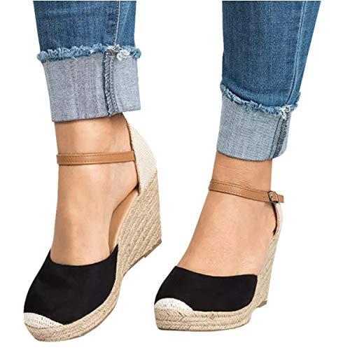 Pxmoda Damen Sommer Espadrille Wedge Sandalen Mode Schnalle Wildleder Plateau Schuhe (37, Schwarz)