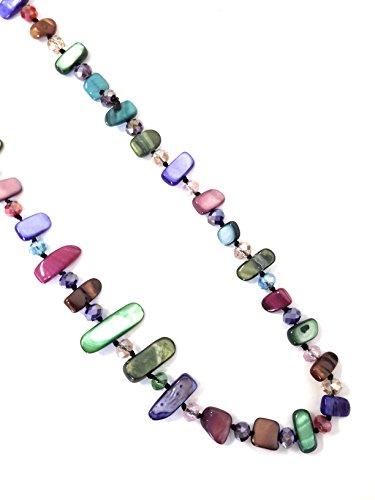 Halskette Damen Bijouterie Modeschmuck Perlmuttkette mit Perlmutt und Kristall Perlen, Als Kurze Kette oder Lange Kette zu Tragen - Farbig