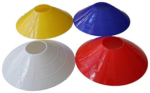 40er Set Markierungshütchen (10 Stück je Farbe: rot, weiß, gelb und blau) - Markierhütchen, Markierhauben, Markierteller