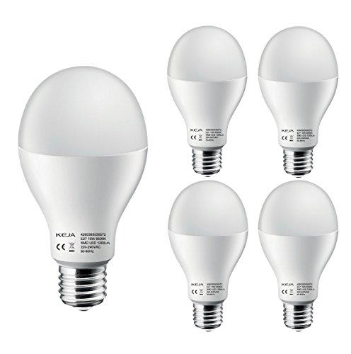 LED FACTORY 15W E27 LED, 120W Ampoule Halogène Équivalent, 1200lm, blanc froid, 6500K, 120° Larges Faisceaux, Pack de 4 Unités Ampoules