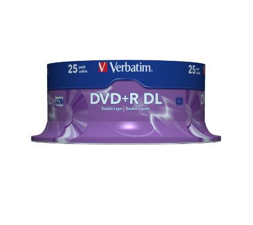 Lot de 25 DVD + R double couche vierges– vitesse 8x - couleur argent – (8,5Go, axe : 120mm), de Verbatim