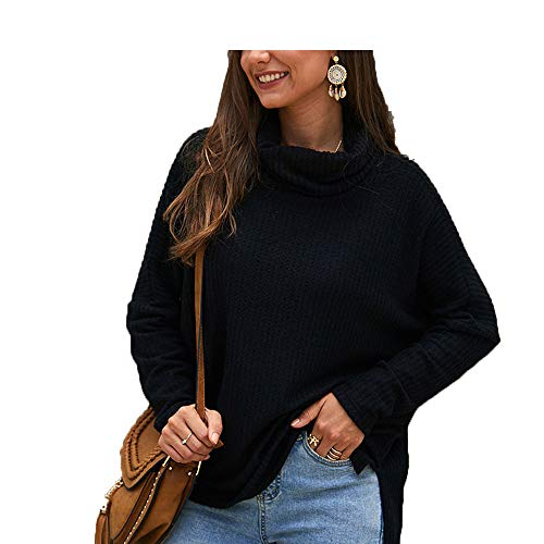 Womens Sweaters Pullover Turtleneck Dames Truien Loose Black Sweater Knit Winter Tops,Wd835Bk,XL -