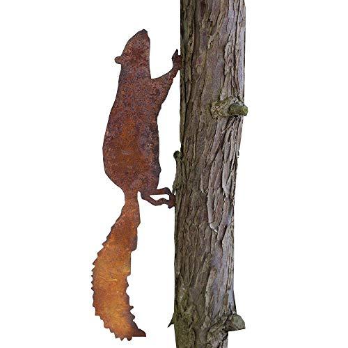 EQT-TEC Gartendekoration Eichhörnchen Edelrost für Holz Baum Gartendeko Tiere Rostfigur Gartenfigur Dekoration