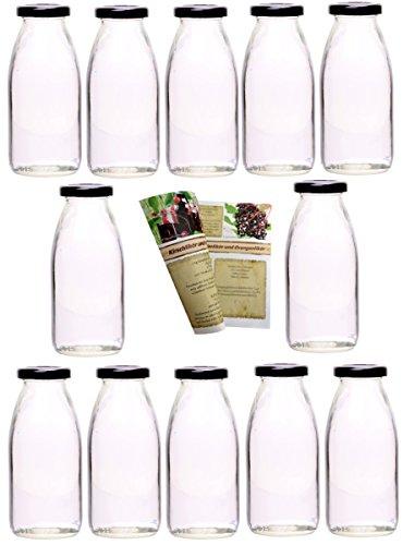 guoveo - 12 botellas de zumo de 250 ml con tapón de rosca negro, botellas de vidrio vacías