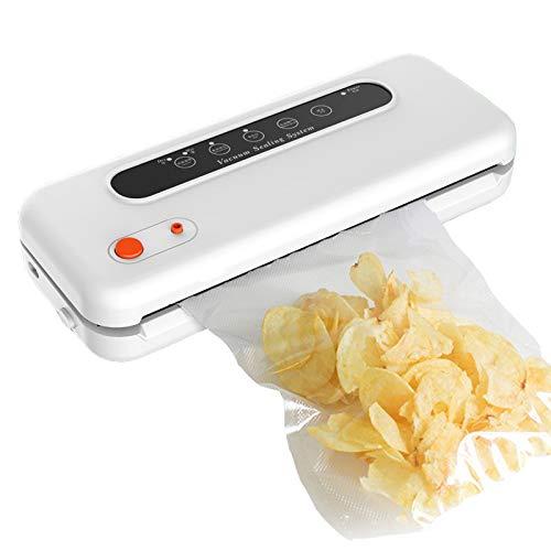 ZJH Vakuumiermaschine Haushalt Automatische Lebensmittel Vakuumiermaschine Verpackungsmaschine Automatische Vakuumieranlage, zur Lebensmittelkonservierung,White