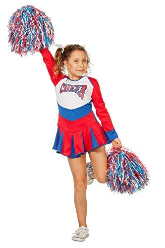 Jannes - Cheerleader Kostüm Kinder Rot Blau Weiß 128