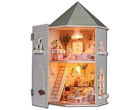 NWYJR Liebe die Festung Doll House Mini Haus Möbel Kit Dekoration Haus LED Handwerk Holz Puppen Zimmer Geschenk