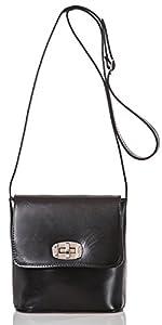 italienische Damen Umhängetasche Madrid aus echtem Leder in tief schwarz, Made in Italy, Handtasche 20x19cm