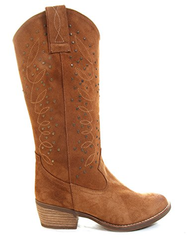 Buylevard Cowboy Studded Boots Boho by (41 - Camel) (Suede Boot Studded)