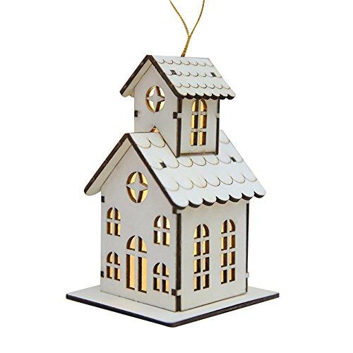 MAYOGO Weihnachts Deko LED Leuchtend Klein-Holz-Haus Hängende Verzierung Spleiß Holz Haus Dekoration Anhänger Basteln12.5 * 8.5 * 7.5cm