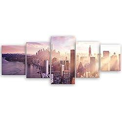 ge Bildet® hochwertiges Leinwandbild XXL XXL - Sonnenuntergang über Manhattan - New York City - 200 x 80 cm mehrteilig (5 teilig) 2211 G
