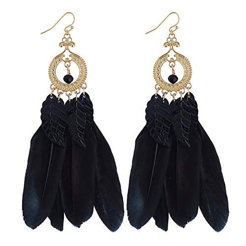 Jewelry Pendientes De Plumas Vintage, Serie Dream Catcher Plumas Largas Hojas Pendientes De Borla, Pendientes Mujeres,Negro,Un tamaño