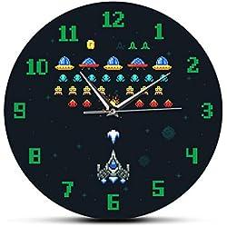 YJSMXYD Relojes De Pared,Reloj De Pared Videojuego Vintage Espacio Alien Invader Pixel Spaceship Kids Arcade Videojuego Impreso Acylic