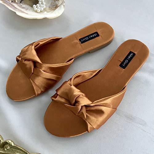 Yopaiya sandali donna,ciabatte da donna marrone sandali con fiocco in raso da donna summer slip on shoes donna con scivoli piatti sandali esterni slipper, 37